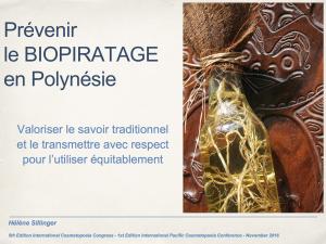 Prévenir le BIOPIRATAGE en Polynésie