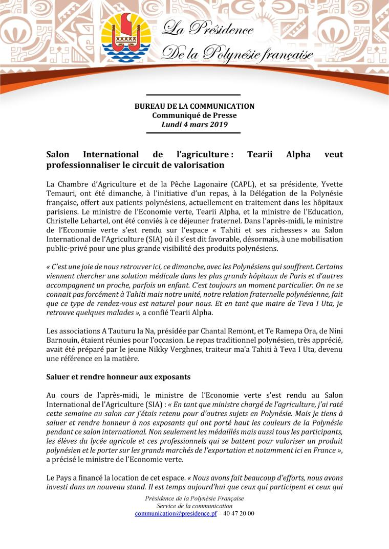 CommuniqueyZ--ZMinistreZEconomieZverteZauZsalonZinternationalZdeZlagricu.-page-001